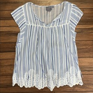 Anthropologie small blue babydoll blouse
